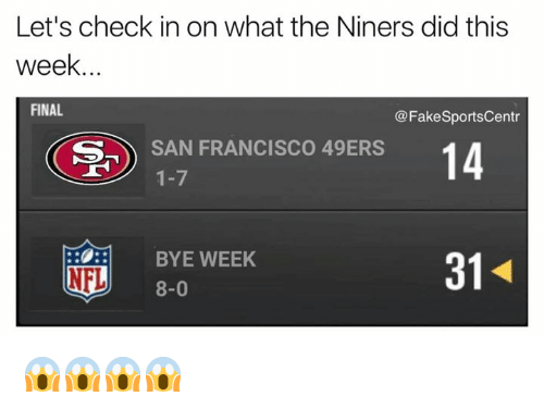 San Francisco 49ers: Let's check in on what the Niners did this  week.  FINAL  @Fake SportsCentr  S- SAN FRANCISCO 49ERS  14  1-7  BYE WEEK  NFL  8-0 😱😱😱😱