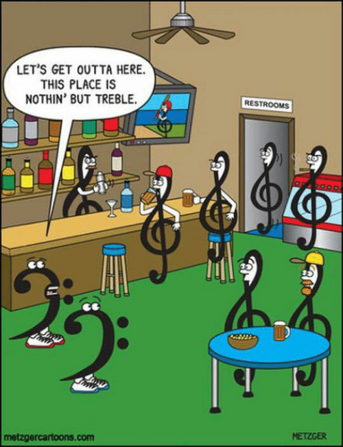 get outta here: LET'S GET OUTTA HERE.  THIS PLACE IS  NOTHIN' BUT TREBLE.  RESTROOMS  metzgercartoons.com  METZGER