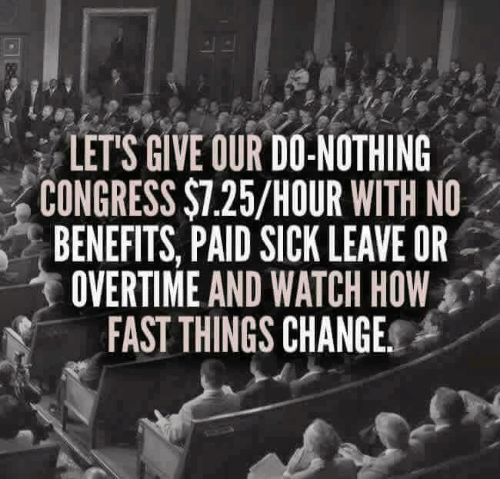 Do Nothing: LET'S GIVE OUR DO-NOTHING  CONGRESS $7.25/HOUR WITH NO  BENEFITS, PAID SICK LEAVE OR  OVERTIME AND WATCH HOW  FAST THINGS CHANGE.