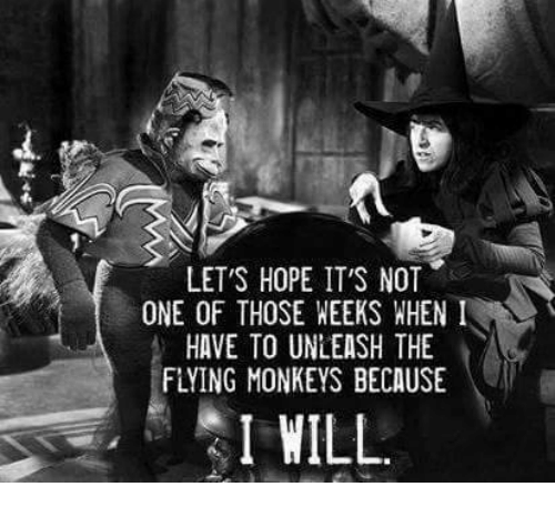 flying monkey: LET'S HOPE IT'S NOT  ONE OF THOSE WEEKS WHEN  I  HAVE TO UNLEASH THE  FLYING MONKEYS BECAUSE  I WILL