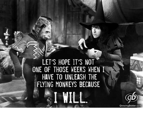 flying monkey: LET'S HOPE IT'S NOT  ONE OF THOSE WEEKS WHEN I  HAVE TO UNLEASH THE  FLYING MONKEYS BECAUSE  I WILL  GrowingBolder.com