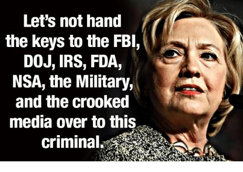 crook: Let's not hand  the keys to the FBI,  DOJ, IRS, FDA,  NSA, the Military,  and the Crooked  media over to this  criminal.