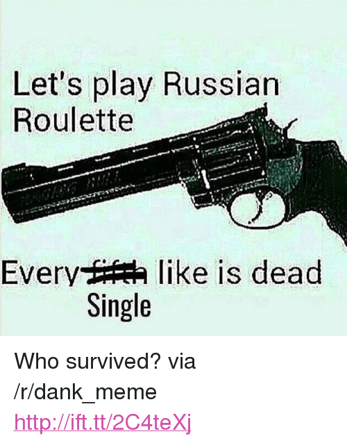 """russian roulette: Let's play Russian  Roulette  Every t  like is dead  Single <p>Who survived? via /r/dank_meme <a href=""""http://ift.tt/2C4teXj"""">http://ift.tt/2C4teXj</a></p>"""