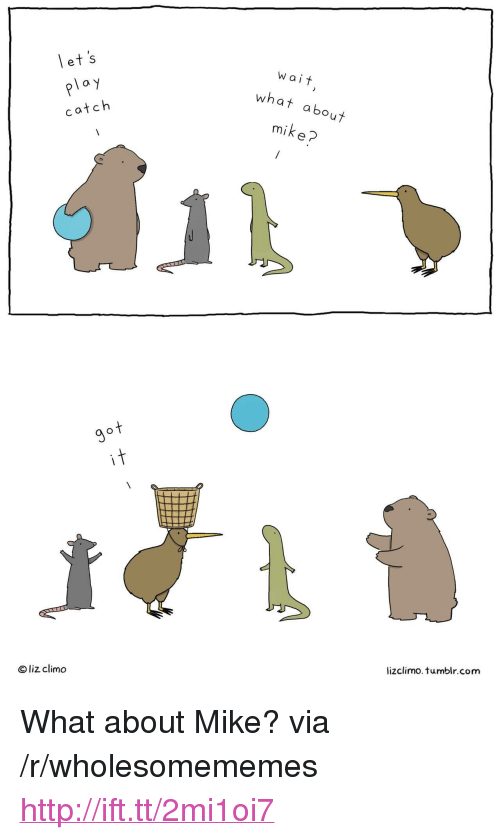 """ploy: let's  ploy  catch  Wait  at about  mike?  wh  ot  it  Oliz climo  lizclimo. tumblr.com <p>What about Mike? via /r/wholesomememes <a href=""""http://ift.tt/2mi1oi7"""">http://ift.tt/2mi1oi7</a></p>"""
