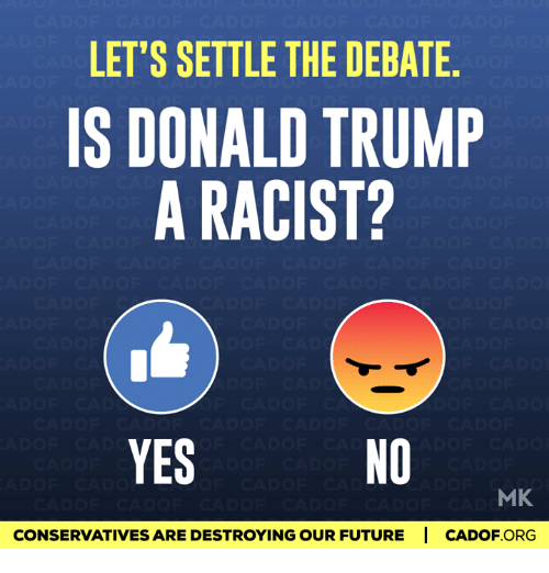 Memes, Racist, and 🤖: LET'S SETTLE THE DEBATE  IS DONALD TRUMP  A RACIST?  YES  MK  CONSERVATIVESARE DESTROYING OUR FUTURE I CADOF ORG