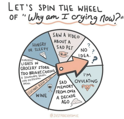"spiral: LET'S SPIN THE WHEEL  OF ""Why am I cryinq no  SAW A VIDEO  ABOUT A  OR SLEEPY SAD PEr  FLORESCENT  LIGHTS IN  GROCERY STOO  TOO BRI6HT.CAUSING  A DOWNWARD SPIRAL  INTO EXISTENTAL  I'M  SAD OVULATING  DREAD  MEMORY  FROM OVER  A DECADE  AGO  JUST PEACHYCOMIC"
