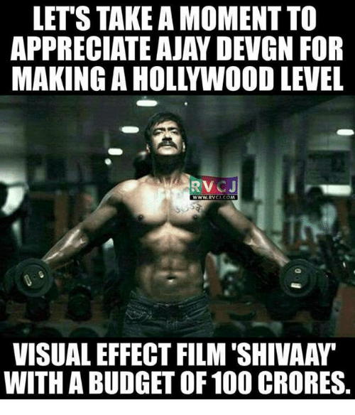 ajay devgn: LET'S TAKE A MOMENT TO  APPRECIATE AJAY DEVGN FOR  MAKING AHOLLYWOOD LEVEL  RTV  CJ  WWW, RVCJ, CO  VISUALEFFECT FILM SHIVAAW  WITH A BUDGET OF 100 CRORES.