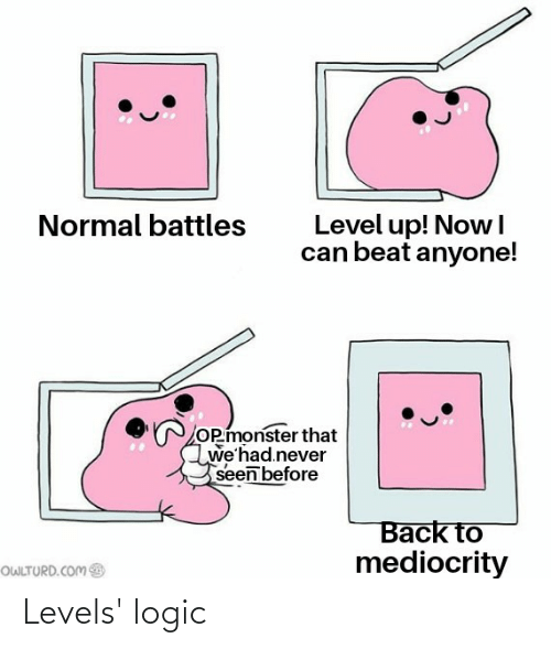 Owlturd: Level up! Nowl  can beat anyone!  Normal battles  OP monster that  we'had.never  seen before  Back to  mediocrity  OWLTURD.COM Levels' logic