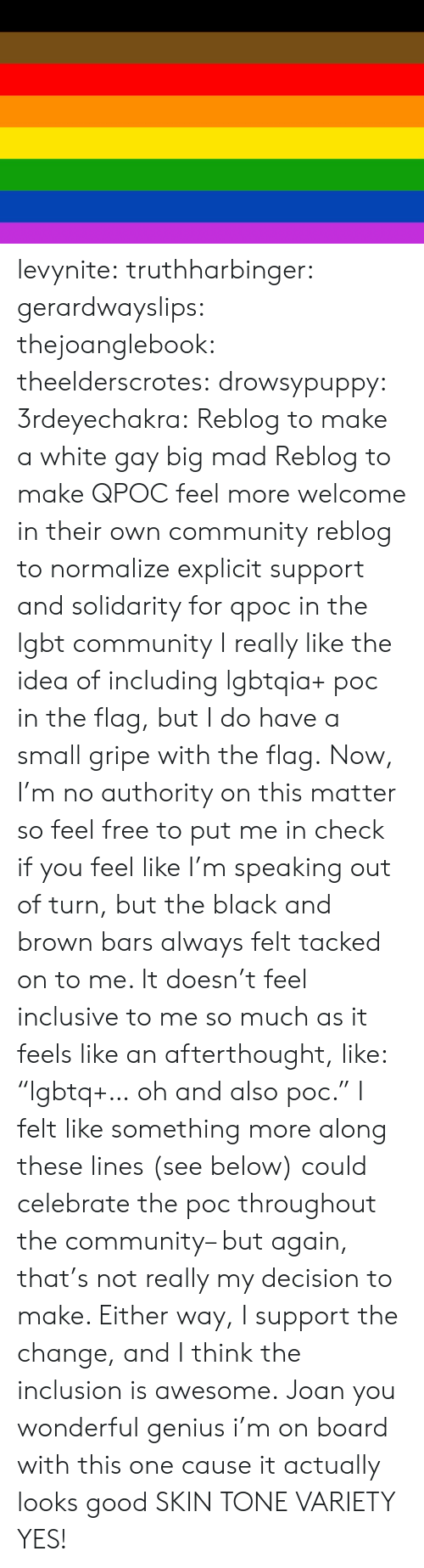 """inclusion: levynite:  truthharbinger:  gerardwayslips:  thejoanglebook:  theelderscrotes:  drowsypuppy:  3rdeyechakra: Reblog to make a white gay big mad  Reblog to make QPOC feel more welcome in their own community  reblog to normalize explicit support and solidarity for qpoc in the lgbt community   I really like the idea of including lgbtqia+ poc in the flag, but I do have a small gripe with the flag.  Now, I'm no authority on this matter so feel free to put me in check if you feel like I'm speaking out of turn, but the black and brown bars always felt tacked on to me. It doesn't feel inclusive to me so much as it feels like an afterthought, like: """"lgbtq+… oh and also poc."""" I felt like something more along these lines (see below) could celebrate the poc throughout the community– but again, that's not really my decision to make. Either way, I support the change, and I think the inclusion is awesome.    Joan you wonderful genius   i'm on board with this one cause it actually looks good  SKIN TONE VARIETY YES!"""