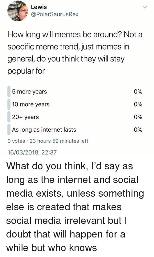 Internet, Meme, and Memes: Lewis  @PolarSaurusRex  How long will memes be around? Not a  specific meme trend, just memes in  general, do you think they will stay  popular for  5 more years  10 more years  20+ years  As long as internet lasts  0%  0%  0%  0%  0 votes 23 hours 59 minutes left  16/03/2018, 22:37 What do you think, I'd say as long as the internet and social media exists, unless something else is created that makes social media irrelevant but I doubt that will happen for a while but who knows