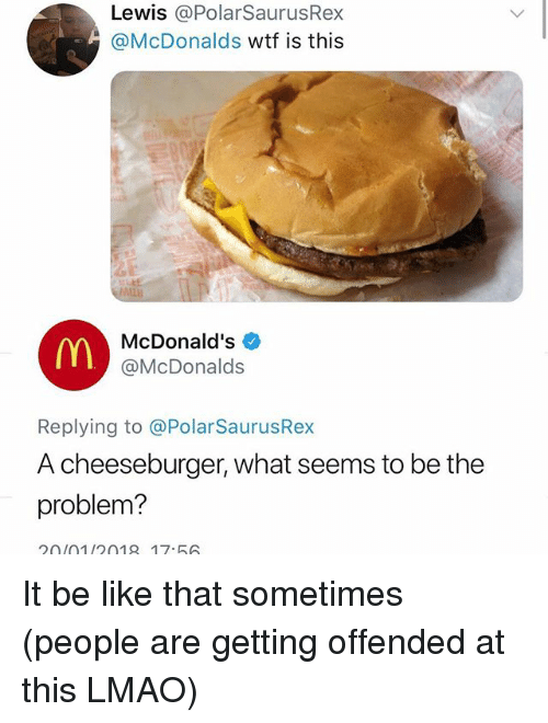 Be Like, Lmao, and McDonalds: Lewis @PolarSaurusRex  @McDonalds wtf is this  ALLB  McDonald's  @McDonalds  Replying to @PolarSaurusRex  A cheeseburger, what seems to be the  problem?  20(01/2018 17.56 It be like that sometimes (people are getting offended at this LMAO)