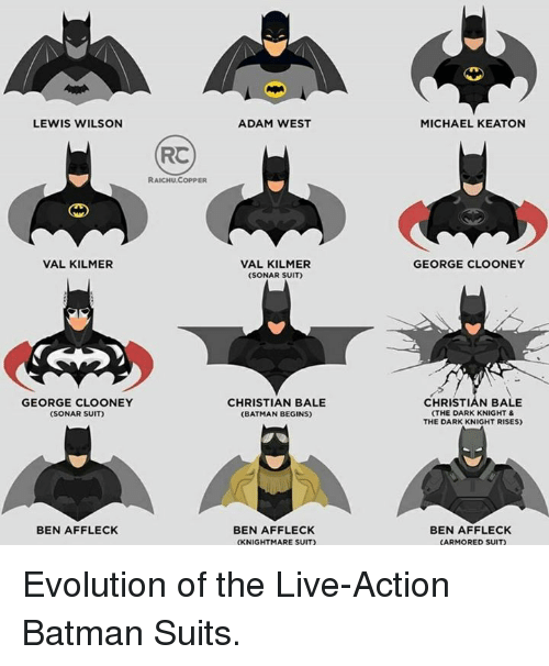 Batman, Memes, and Ben Affleck: LEWIS WILSON  VAL KILMER  GEORGE CLOONEY  (SONAR SUIT)  BEN AFFLECK  RC  RAICHU,COPPER  ADAM WEST  VAL KILMER  (SONAR SUIT)  CHRISTIAN BALE  (BATMAN BEGINS)  BEN AFFLECK  (KNIGHTMARE SUIT)  MICHAEL KEATON  GEORGE CLOONEY  CHRISTIAN BALE  (THE DARK KNIGHT &  THE DARK KNIGHT RISES)  BEN AFFLECK  (ARMORED SUIT) Evolution of the Live-Action Batman Suits.