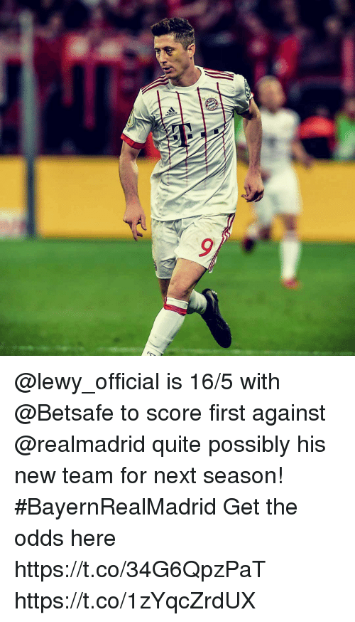 Lewy: @lewy_official is 16/5 with @Betsafe to score first against @realmadrid quite possibly his new team for next season! #BayernRealMadrid Get the odds here https://t.co/34G6QpzPaT https://t.co/1zYqcZrdUX