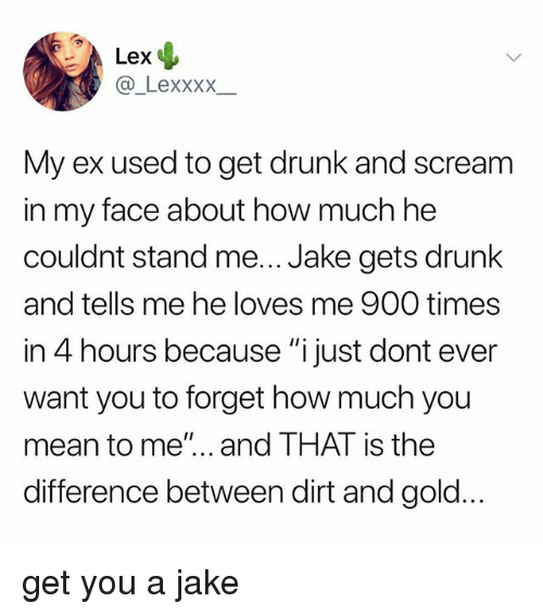 """Drunk, Scream, and Tumblr: Lex  My ex used to get drunk and scream  in my face about how much he  couldnt stand me... Jake gets drunk  and tells me he loves me 900 times  in 4 hours because """"i just dont ever  want you to forget how much you  mean to me""""... and THAT is the  difference between dirt and gold get you a jake"""