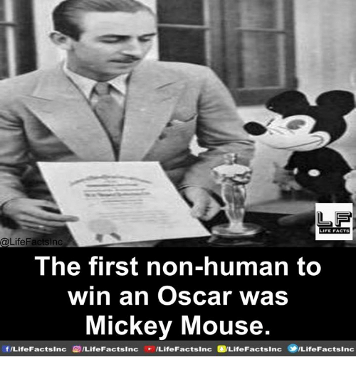 Facts, Memes, and Mickey Mouse: LF  IFE FACTS  The first non-human to  win an Oscar was  Mickey Mouse