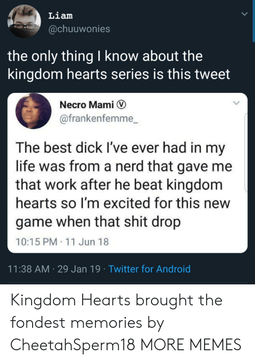 Kingdom Hearts: Liam  @chuuwonies  the only thing I know about the  kingdom hearts series is this tweet  Necro Mami V  @frankenfemme_  The best dick I've ever had in my  life was from a nerd that gave me  that work after he beat kingdom  hearts so I'm excited for this new  game when that shit drop  10:15 PM 11 Jun 18  11:38 AM 29 Jan 19 Twitter for Android Kingdom Hearts brought the fondest memories by CheetahSperm18 MORE MEMES