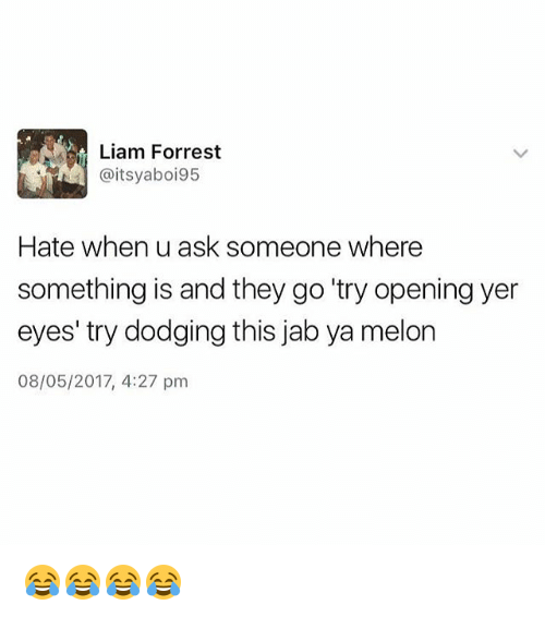 """Melonism: Liam Forrest  @itsyaboi95  Hate when u ask someone where  something is and they go """"try opening yer  eyes' try dodging this jab ya melon  08/05/2017, 4:27 pm 😂😂😂😂"""