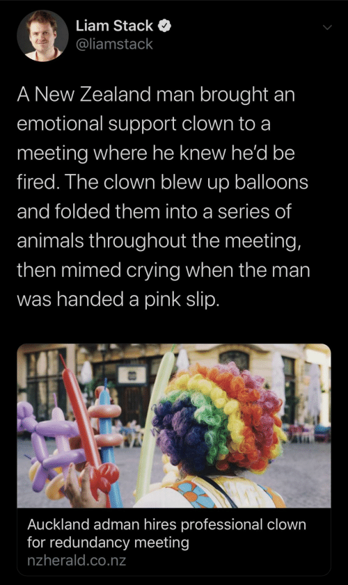 liam: Liam Stack  @liamstack  A New Zealand man brought an  emotional support clown to a  meeting where he knew he'd be  fired. The clown blew up balloons  and folded them into a series of  animals throughout the meeting,  then mimed crying when the man  was handed a pink slip.  Auckland adman hires professional clown  for redundancy meeting  nzherald.co.nz
