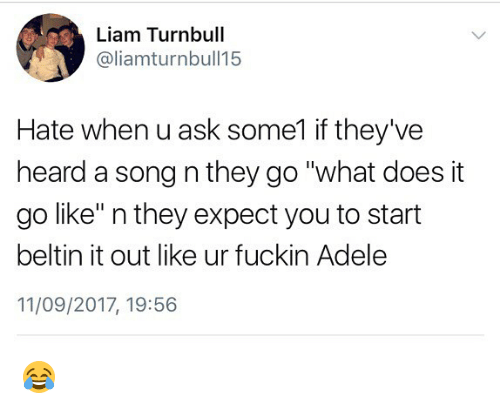 "Heardly: Liam Turnbull  @liamturnbull15  Hate when u ask some1 if they've  heard a song n they go ""what does it  go like"" n they expect you to start  beltin it out like ur fuckin Adele  11/09/2017, 19:56 😂"