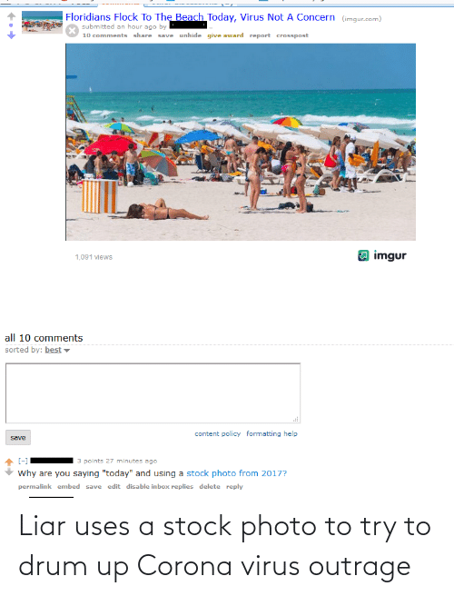 Outrage: Liar uses a stock photo to try to drum up Corona virus outrage