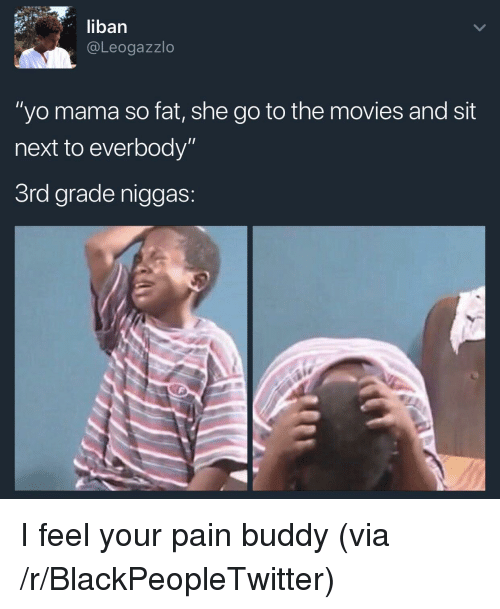 "I Feel Your Pain: liban  @Leogazzlo  ""yo mama so fat, she go to the movies and sit  next to everbody""  3rd grade niggas <p>I feel your pain buddy (via /r/BlackPeopleTwitter)</p>"