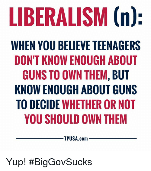 Liberalism: LIBERALISM (n)  WHEN YOU BELIEVE TEENAGERS  DONT KNOW ENOUGH ABOUT  GUNS TO OWN THEM, BUT  KNOW ENOUGH ABOUT GUNS  TO DECIDE WHETHER OR NOT  YOU SHOULD OWN THEM  TPUSA.com Yup! #BigGovSucks