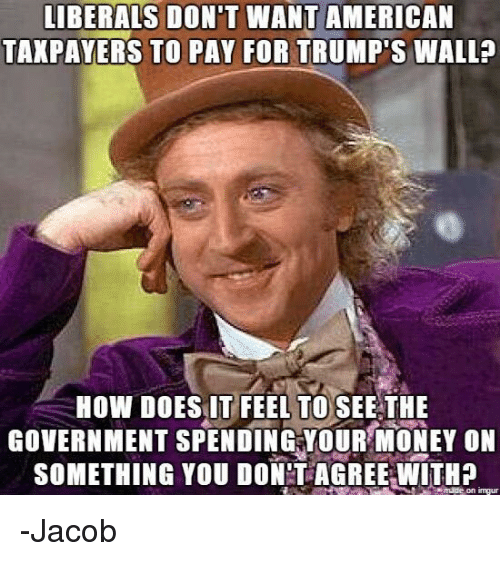 Trumps Wall: LIBERALS DON'T WANT AMERICAN  TAXPAYERS TO PAY FOR TRUMP'S WALL?  HOW DOES IT FEEL TO SEE THE  GOVERNMENT SPENDING YOUR MONEY ON  SOMETHING YOU DON'T AGREE WITH?  made on ingur -Jacob