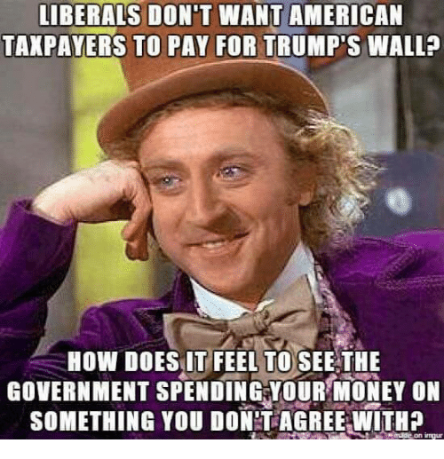 Trumps Wall: LIBERALS DON'T WANT AMERICAN  TAXPAYERS TO PAY FOR TRUMP'S WALL  HOW DOES IT FEEL TO SEE THE  GOVERNMENT SPENDING YOUR MONEY ON  SOMETHING YOU DONT AGREE WITH?