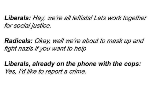 Crime, Sassy Socialast, and Mask: Liberals: Hey were all leftists! Lets Work together  for social ustice.  Radicals: Okay, well we re about to mask up and  fight nazis if you want to help  Liberals, already on the phone with the cops:  Yes, Idlike to report a crime.