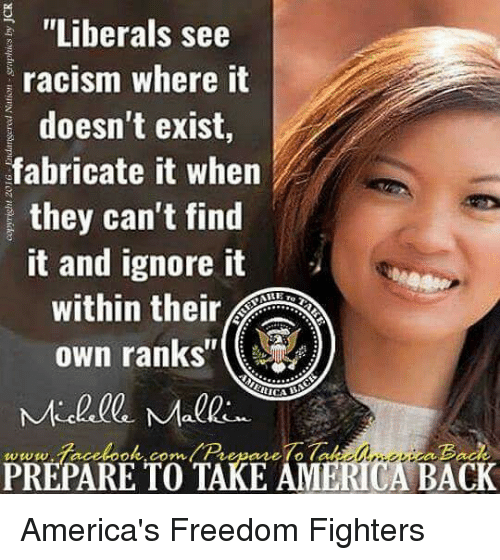 """freedom fighter: """"Liberals see  racism where it  doesn't exist,  fabricate it when  they can't find  it and ignore it  own ranks  ok.com  TAKE AM  ERICA  BACK  PREPARE TO America's Freedom Fighters"""