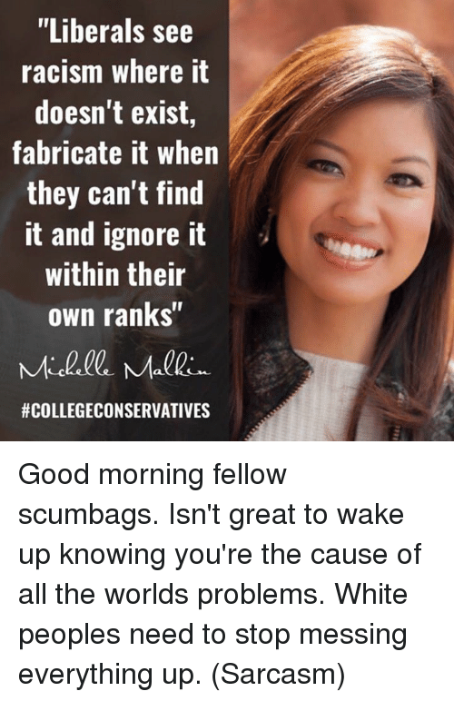 """malkin: """"Liberals see  racism where it  doesn't exist,  fabricate it when  they can't find  it and ignore it  within their  own ranks""""  Malkin.  Good morning fellow scumbags.  Isn't great to wake up knowing you're the cause of all the worlds problems.  White peoples need to stop messing everything up. (Sarcasm)"""