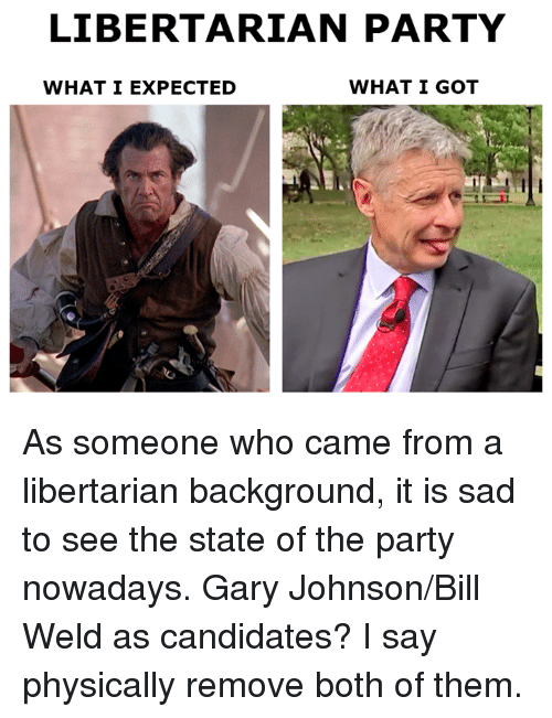 gary johnson: LIBERTARIAN PARTY  WHAT I GOT  WHAT I EXPECTED As someone who came from a libertarian background, it is sad to see the state of the party nowadays.   Gary Johnson/Bill Weld as candidates? I say physically remove both of them.