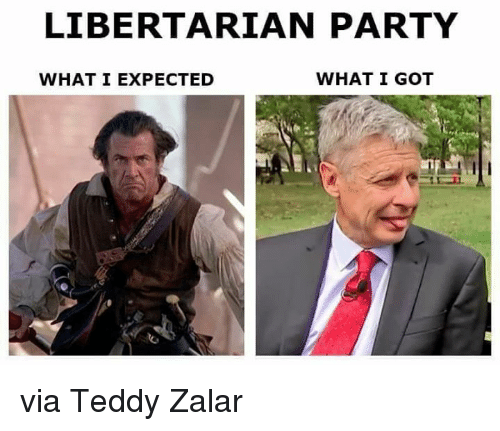 Memes, Party, and Libertarian: LIBERTARIAN PARTY  WHAT I GOT  WHAT I EXPECTED via Teddy Zalar