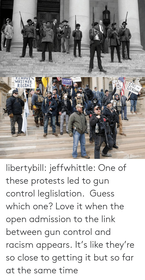 Close To: libertybill:  jeffwhittle:  One of these protests led to gun control leglislation.  Guess which one?   Love it when the open admission to the link between gun control and racism appears.   It's like they're so close to getting it but so far at the same time