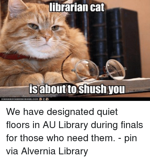 Finals, Library, and Quiet: librarian cat  isabout to shush you  ICAN HASCHEEZ BURGER.COM We have designated quiet floors in AU Library during finals for those who need them. - pin via Alvernia Library