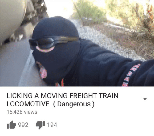 Freight: LICKING A MOVING FREIGHT TRAIN  LOCOMOTIVE (Dangerous)  15,428 views  1992 194