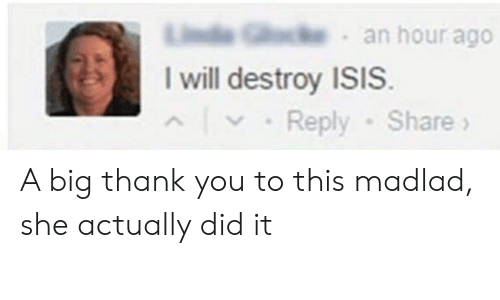 I Will Destroy Isis: Lie G an hour ago  I will destroy ISIS  Reply-Share A big thank you to this madlad, she actually did it
