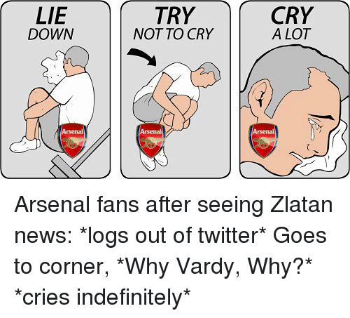 vardy: LIE  TRY  CRY  DOWN  NOT TO CRY  ALOT  rsenal  rsenal  rsenal Arsenal fans after seeing Zlatan news: *logs out of twitter* Goes to corner, *Why Vardy, Why?* *cries indefinitely*