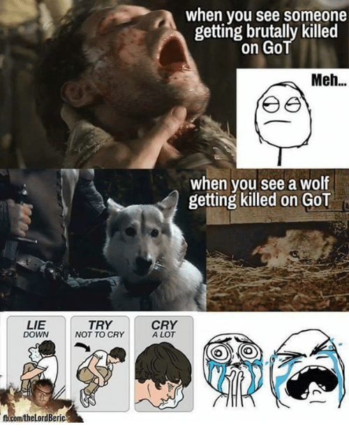 crying a lot: LIE  TRY  NOT TO CRY  DOWN  fb.com/the LordBeric  when you see someone  getting brutally killed  on Go  Meh...  e e  when you see a wolf  getting killed on GOT  CRY  A LOT