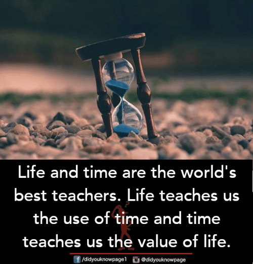 worlds best: Life and time are the world's  best teachers. Life teaches us  the use of time and time  teaches us the value of life.  団/didyouknowpagel。@didyouknowpage