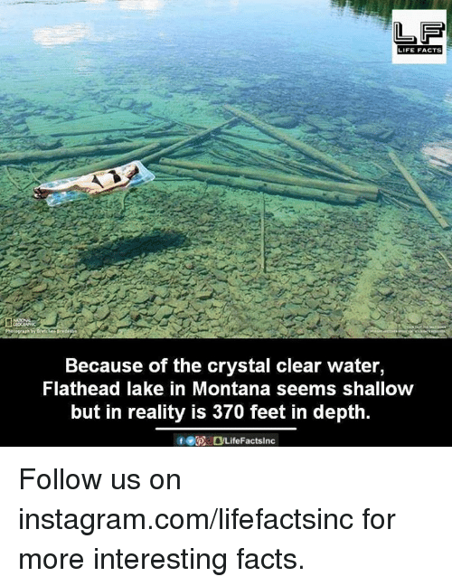 Facts, Instagram, and Life: LIFE FACTS  Because of the crystal clear water,  Flathead lake in Montana seems shallow  but in reality is 370 feet in depth.  GOODLife Factslnc Follow us on instagram.com/lifefactsinc for more interesting facts.