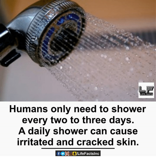 Life: LIFE FACTS  Humans only need to shower  every two to three days.  A daily shower can cause  irritated and cracked skin.  f CDO Life Factslnc