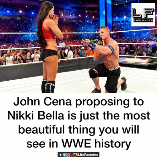 nikki bella: LIFE FACTS  John Cena proposing to  Nikki Bella is just the most  beautiful thing you will  see in WWE history