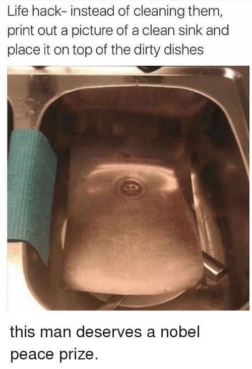 Life Hack, Dirty, and Dish: Life hack-instead of cleaning them  print out a picture of a clean sink and  place it on top of the dirty dishes this man deserves a nobel peace prize.