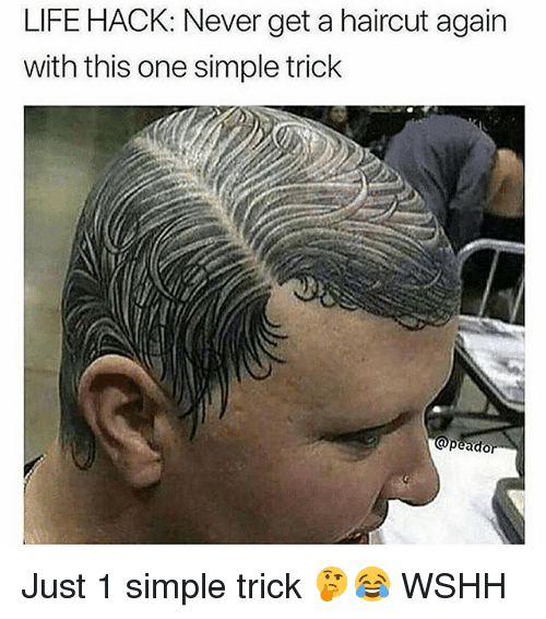 Haircut, Life, and Memes: LIFE HACK: Never get a haircut again  with this one simple trick Just 1 simple trick 🤔😂 WSHH