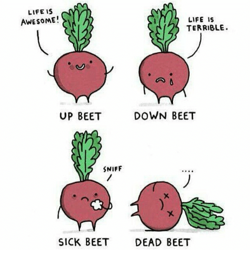beet: LIFE IS  AWESOME!  LIFE IS  TERRIBLE  UP BEET  DOWN BEET  SNIFF  SICK BEET  DEAD BEET