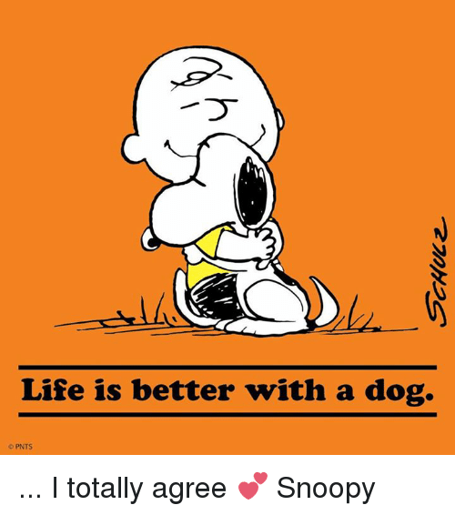 memes: Life is better with a dog.  PNTS ... I totally agree 💕 Snoopy