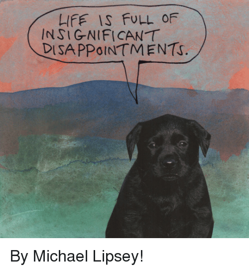 disappoint: LIFE IS FULL OF  INSIGNIFICANT  DISAPPOINTMENTS. By Michael Lipsey!