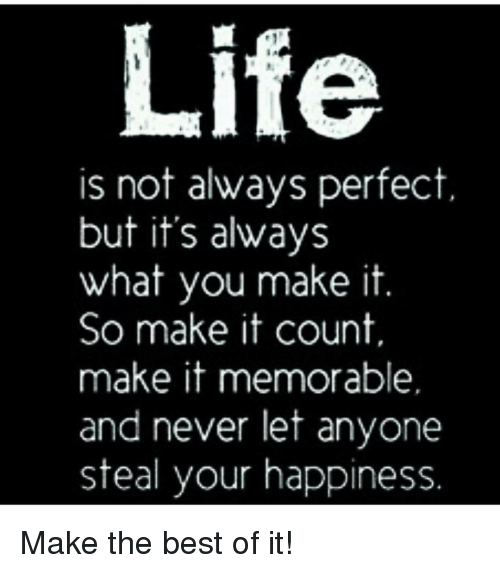 Memes, Best Of, and 🤖: Life  is not always perfect  but it's always  what you make it  So make it count.  make it memorable.  and never let anyone  steal your happiness Make the best of it!