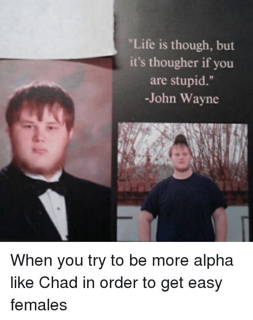 Life, John Wayne, and Stupidity: Life is though, but  it's thougher if you  are stupid  -John Wayne When you try to be more alpha like Chad in order to get easy females